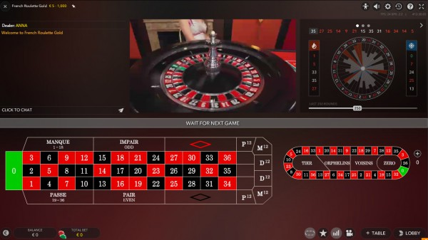Live French Roulette Screenshot